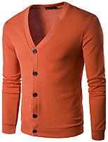Herren Standard Strickjacke-Lässig/Alltäglich Arbeit Retro Einfach Solide V-Ausschnitt Langarm Baumwolle Kunstseide Herbst Winter Dünn