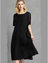 XuanYan Women's Casual/Daily A Line Swing DressSolid Jacquard Round Neck Midi Half Sleeve Silk Summer Mid Rise Micro-elastic Medium