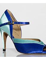 Для женщин Танцевальные кроссовки Полиуретан Сандалии Кроссовки Для открытой площадки На толстом каблуке Лиловый Синий 5 - 6,8 см
