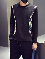 Men's Casual/Daily Simple Sweatshirt Print Round Neck Micro-elastic Cotton Long Sleeve Fall Winter