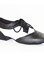 Men's Latin Patent Leather Flats Performance Splicing Black-white Under 1