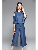 TYZEE Women's Holiday Going out Casual/Daily Simple Spring Summer Shirt Pant SuitsSolid Shirt Collar Short Sleeve Micro-elastic