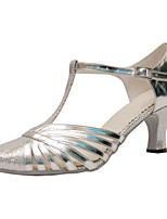 Women's Latin Faux Leather Sandals Performance Buckle Cuban Heel Silver 2