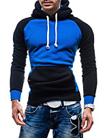 Men's Going out Casual/Daily Street chic Hoodie Color Block Hooded Micro-elastic Cotton Polyester Long Sleeve Winter