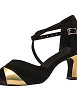Для женщин Латина Шёлк Сандалии Концертная обувь Крест-накрест На шпильке Черно-белый Черный и золотой 7,5 - 9,5 см Персонализируемая