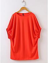 Для женщин На выход На каждый день Лето Осень Блуза Круглый вырез,Простое Активный Однотонный С короткими рукавами,Шёлк Хлопок,Тонкая