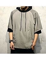 Men's Casual Others Hoodie Solid Hooded Inelastic Cotton Polyester 1/2 Length Sleeve Summer