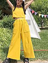 Mujer Moderno / Contemporáneo Diario Verano Tank Top Pantalón Trajes,Escote Redondo Un Color Sin Mangas