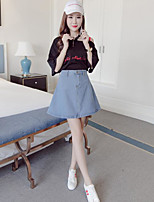 Women's Other Casual Casual/Daily Summer T-shirt Skirt Suits,Letter Asymmetrical ½ Length Sleeve