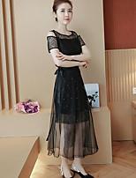 Для женщин Повседневные Лето Блузка Платья Костюмы Круглый вырез,Простой Однотонный С короткими рукавами Слабоэластичная