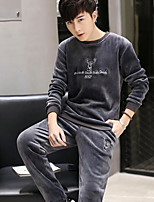 Men's Daily Modern/Comtemporary Sweatshirt Animal Print Round Neck Micro-elastic Cotton Long Sleeve Spring