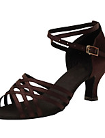 Women's Latin Silk Sandals Performance Criss-Cross Cuban Heel Dark Brown 2