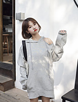 Women's Casual/Daily Hoodie Solid Hooded strenchy Cotton Long Sleeve Spring Fall