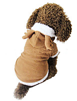Dog Costume Harness Dog Clothes Christmas Solid Random Color Brown White