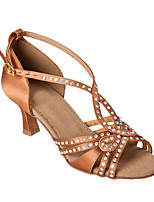Women's Latin Silk Sandals Performance Crystals/Rhinestones Stiletto Heel Brown 3