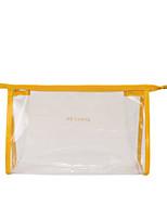Women Cosmetic Bag PVC All Seasons Casual Outdoor Round Zipper Fuchsia Yellow Blushing Pink Black
