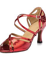 Для женщин Латина Шёлк Сандалии Кроссовки Профессиональный стиль С пряжкой На толстом каблуке Золотой Красный Синий 5 - 6,8 см