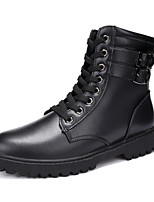 Men's Boots Fashion Boots Combat Boots Fall Winter Leather Walking Shoes Outdoor Flat Heel White Black Flat