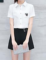 Для женщин Повседневные Лето Рубашка Юбки Костюмы Рубашечный воротник,На каждый день С животными принтами Контрастных цветовС короткими