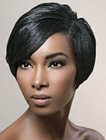 Stylish  Oblique Fringe Black Short  Human Hair Wigs
