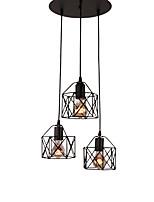 3 cabeza de la vendimia negro metal jaula sombreado luces colgantes sala de estar comedor luminaria