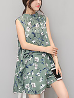 Women's Daily Casual Casual Summer T-shirt Dress Suits,Floral Print Crew Neck Sleeveless