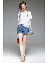 Damen Solide Einfach Sport Ausgehen Lässig/Alltäglich Festtage T-shirt,Rundhalsausschnitt Sommer Kurzarm Baumwolle Mittel