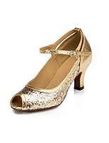 Women's Latin Synthetic Glitter Heels Professional Sparkling Glitter Cuban Heel Gold 2