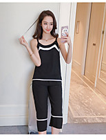 Women's Daily Soak Off Summer Tank Top Pant Suits,Solid Round Neck Sleeveless