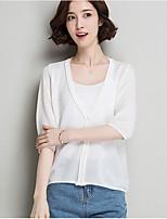 Corto Cardigan Da donna-Casual Tinta unita A V Manica a 3/4 Cotone Autunno Medio spessore Media elasticità