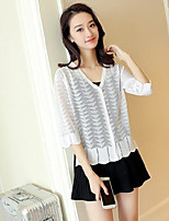 Women's Daily Casual Simple Regular Cardigan,Solid Mesh V-neck Half Sleeve Cotton Sweater Spring Thin Micro-elastic