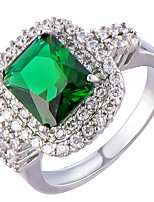 Ring Women's Euramerican Luxury Rhinestone Square Cut Imitation Emerald  Ring Daily Party  Movie Business Gift Jewelry