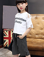 Girls' Fashion And Lovely Letter With Short Seeves T-Shirt Wide-Legged Pants In The Stripe Two-Piece Dress