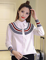 Women's Going out Simple Shirt,Striped Shirt Collar Long Sleeves Cotton