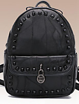 Women Backpack Sheepskin All Seasons Casual Round Zipper Black 10-20