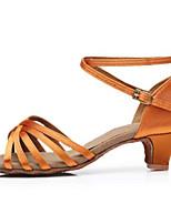 Women's Latin Silk Flats Heels Practice Almond Bronze Black