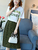 Women's Casual/Daily Modern/Comtemporary Spring T-shirt Skirt Suits,Floral Print Round Neck Short Sleeve