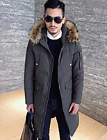 Men's Down Coat,Simple Casual/Daily Solid-Polyester White Duck Down Long Sleeves