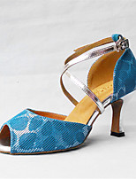 Women's Latin Silk Sandals Beginner Criss-Cross Cuban Heel Blue/White 2