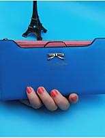 Women Checkbook Wallet PU All Seasons Casual Rectangle Zipper Navy Blue Fuchsia LightBlue