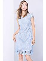 Для женщин На выход На каждый день Простое Очаровательный Оболочка Платье Однотонный,Круглый вырез Выше колена С короткими рукавами