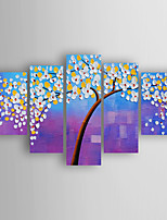 Hand-Painted  Tree by knife  of set 5 Oil Painting With Stretcher For Home Decoration Ready to Hang