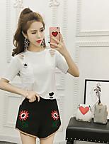 Women's Daily Soak Off Summer Shirt Skirt Suits,Solid Round Neck Short Sleeve