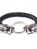 Lureme Vintage Jewelry Metal Chinese Dragon with Leather Chain Bangle Bracelet-China Dragon