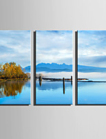 E-HOME Stretched Canvas Art The Quiet Lake View Decoration Painting Set Of 3
