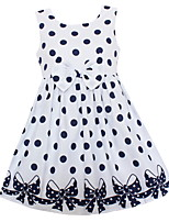 Girls Dress White Dot Print Bow Cute Dresses Party Pageant Kids Clothing For Summer Children Clothes