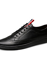 Men's Sneakers Comfort Fall Winter Leather Casual Party & Evening Lace-up Flat Heel Black Flat