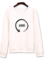 Women's Going out Sweatshirt Solid Letter Round Neck Micro-elastic Cotton Long Sleeve Spring Fall