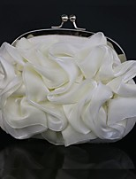 Women Clutch Silk Spring/Fall All Seasons Wedding Event/Party Casual Sports Formal Outdoor Office & Career Circle Floral Kiss Lock White
