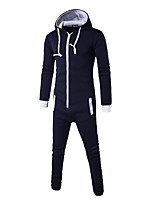 Men's Sports Casual/Daily Simple Active Set Solid Patchwork Hooded Micro-elastic Cotton Rayon Long Sleeve Fall Winter